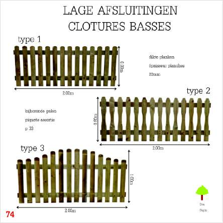 Lage houten tuinafsluiting